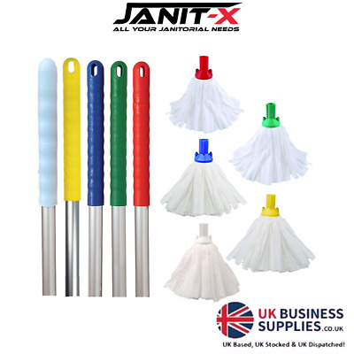 Janit-X Big White Cloth Coded Mops & Handles Red,Blue,Green & Yellow