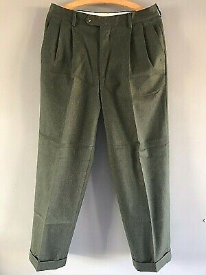 BURBERRY Regular Straight Fit Green Wool Vintage 90's Suit Trousers - W32 / L28