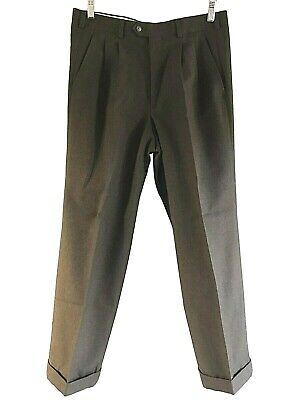 BURBERRY Regular Straight Fit Brown Wool Blend Vintage 90's Suit Pants - W32/L28