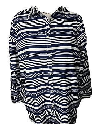 Chaps By Ralph Lauren 2X No Iron Blue White Striped Long Sleeve Top Oxford