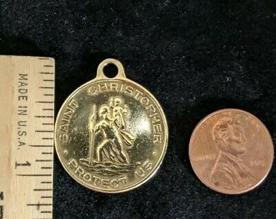 VINTAGE ST. CHRISTOPHER Shiny BRASS RELIGIOUS MEDAL Patron of Surfers Travelers
