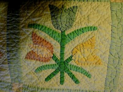"""Lovely 'Vintage' Applique 'Tulip' Pattern Quilt - Approx. 62"""" X 78"""""""