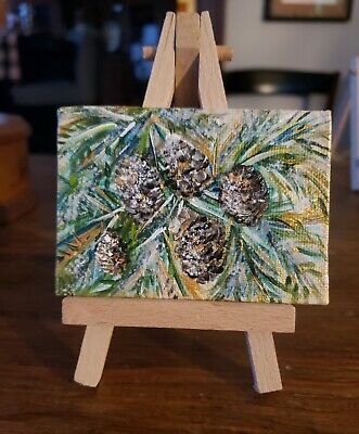 Pine Cones Acrylic and Gold Leaf Mini Painting ATC ACEO Original not a print.