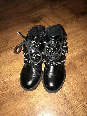Zara Girls Studded Buckled Boots Size 9