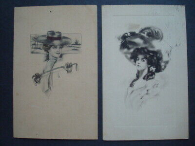 1900's Victorian Gibson Girl Style Ladies With Fancy Hats Postcards Lot of 2