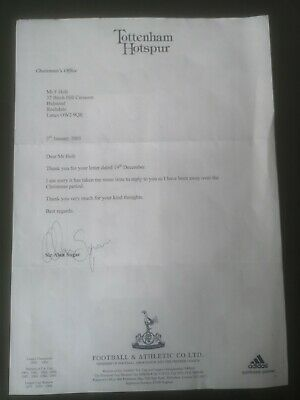 Sir Alan Sugar Signed Letter Tottenham Hotspur Spurs Autograph Unique Rare Coa