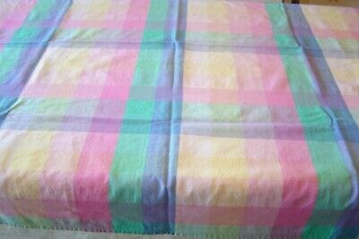 "Vintage Multi Color Checked  Farmhouse/Picnic Tablecloth 49""X45"" 100% Cotton"