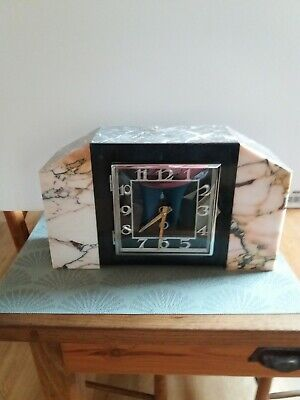 French Art Deco 1930s marble mantel clock
