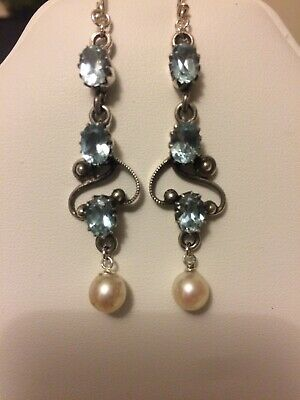 Antique Art Deco Arts Crafts Silver Blue Topaz Cultered Pearl Drop Earrings