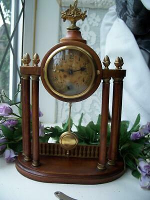 SUPERB ANTIQUE 6 COLUMN MAHOGANY HAC 8 DAY PORTICO MANTLE CLOCK c1900