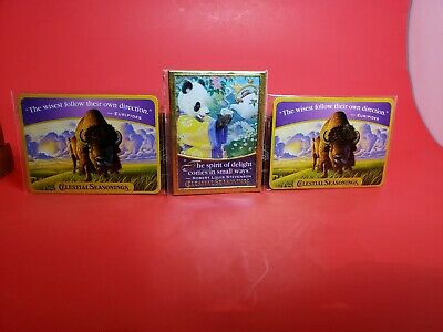 RARE SEALED Vintage Celestial Seasonings Tea Magnets Lot of 3 Panda+2-Buffalo's