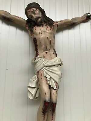Exceptional X Large 19th C. Corpus Christi/Crucifix/Jesus Carved in wood 38.7 H