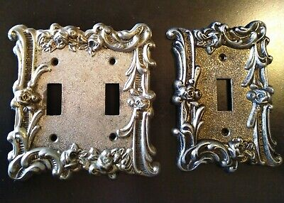 LOT Vintage Edmar Metal Wall Single & 2 Switch Plate Covers Roses Flowers 60T