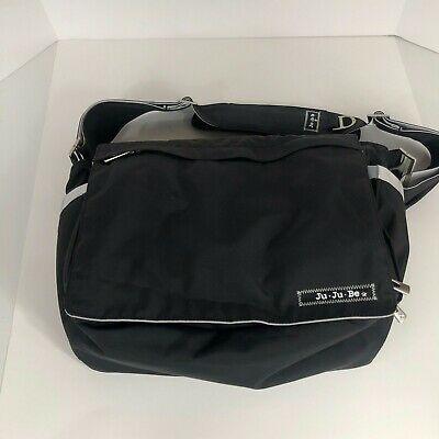 ju ju be Be All Diaper Bag Black Silver Pockets Changing Pad Messenger Strap $89