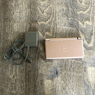 Nintendo DS Lite Handheld Video Game Console Metallic Rose With Charger Pls Read