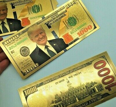 President Donald Trump Colorized $1000 Dollar Bill Gold Foil Banknote EN US