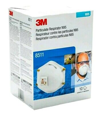 3M 8511 Particulate Sanding Respirator N95 With Valve 10 Pieces.CARONAVIRUS SAFE