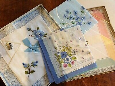 2 Vintage Boxed Sets Of Embroidered/Lace Ladies Hankies Hankerchiefs