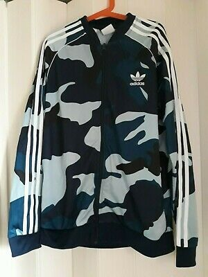 Adidas Boy's Retro Tracksuit Top Blue Camouflage New Without Tags Size Age 13/14