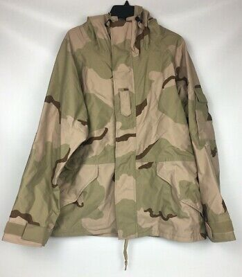 US Military ECWS Desert Camouflage Gore-Tex Cold Weather Parka Large Short