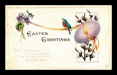 Dr Jim Stamps Us Egg Bird Flowers Embossed Topical Greetings Easter Postcard