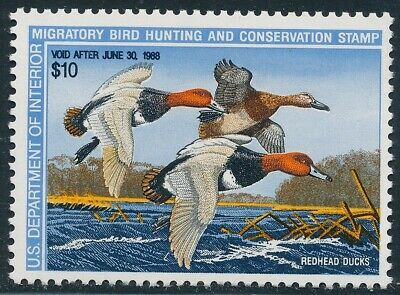 Dr Jim Stamps Us Department Of Interior Duck Scott Rw54 $10 Unused Og Nh