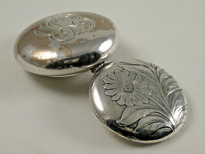 ANTIQUE ART NOUVEAU STERLING SILVER SNUFF, PILL,TRINKET BOX,HINGED LID,c.1870's