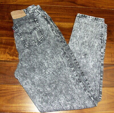 Vintage Levi's 17501 High Waisted Black Acid Wash Jeans 26 x 32 Made In USA