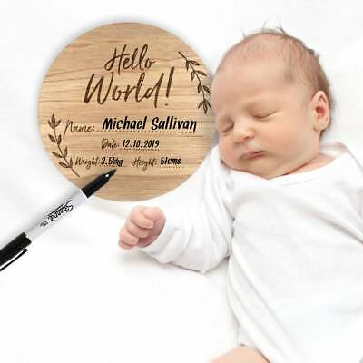 Birth baby announcement plaque - custom baby name disc