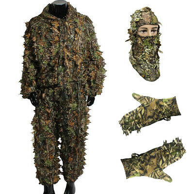 3D Camo Leaf Ghillie Suit Clothes Woodland Jungle Stealth Set Hunting Shooting