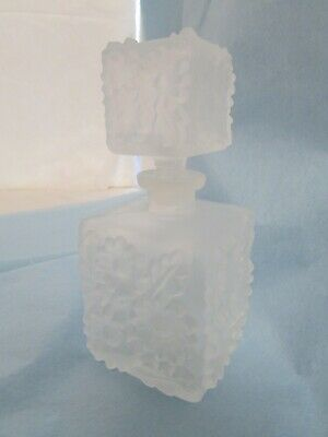 Vintage Irice Frosted Glass Floral Daisy Flowers Square Perfume Bottle Dauber