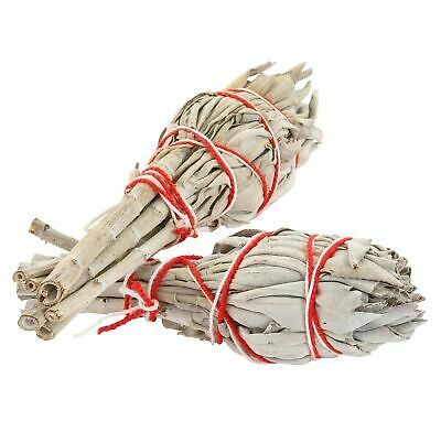 White Sage Smudge Sticks - Set of 2 Sticks For Cleansing, Blessing, Incense