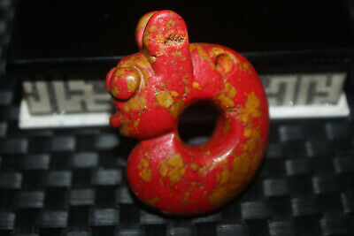 Ancient Chinese Hongshan culture jade carved amulet