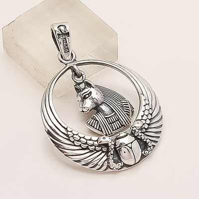 925 Solid Sterling Silver Egypt Queen Face Pendant Handmade Fine Signet Jewelry