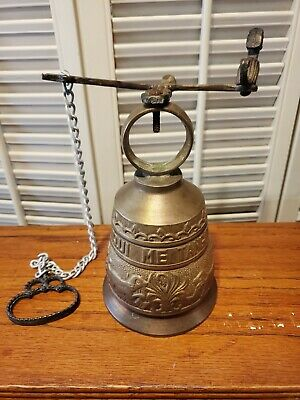 Vintage Antique Brass Bell Hanging Door Bell - Vocem Meam Audit Qui Me Tangit