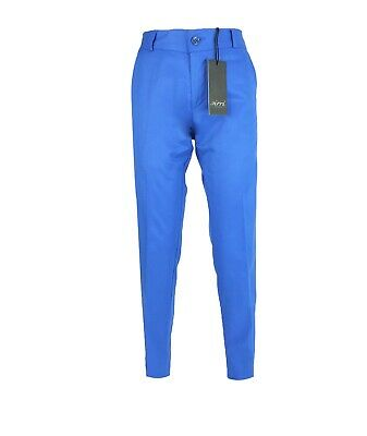 Boys Kids Slim Fit Chino Dress Suit Trousers Casual Cotton Pants in Blue