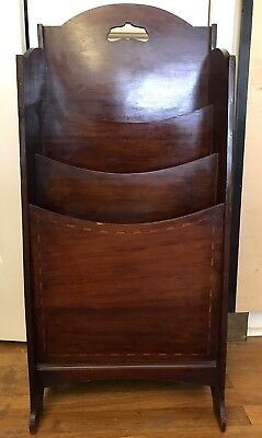 Antique Mahogany / Walnut Inlaid Magazine Music Rack - NYC LOCAL PICK-UP