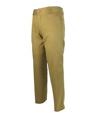 Boys Kids Slim Fit Chino Dress Suit Trousers Casual Cotton Pants in Light Brown