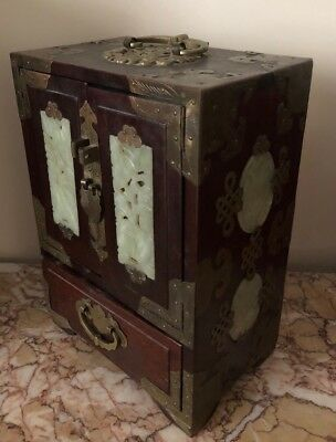Antique Vtg Asian Chinese Wood, Brass & Jade Jewelry Box w/Red Silk Lining 10""
