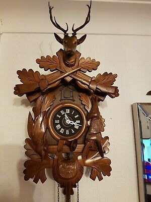 LOVELY 8 day  BLACK FOREST CUCKOO CLOCK /Fully  serviced  !!  LARGE size