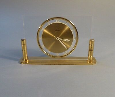 Mauthe Table Clock Plexiglass Brass Mechanical Watch Mantel 8 Day's Work um 1956