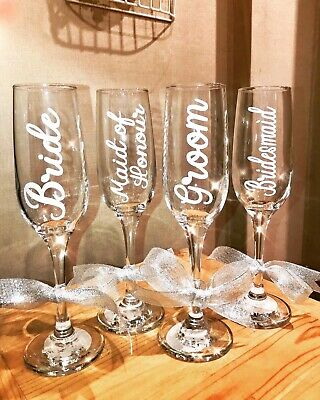 Wedding Vinyl Decal Sticker Champagne Prosecco Glass Bride Name Favour Hen Gift