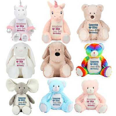 Personalised Large Soft Toy.Teddy Bear Embroidered Birthday Bear, Birthday Gift
