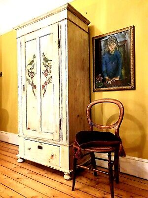 Vintage Painted Pine Armoire/ Wardrobe With Inlaid Bird And Flower Panels