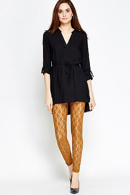 """BNWT*LADIES*SIZE*10*LACE*LEGGINGS *33""""L*ELASTICATED*WAIST*IN CAMEL*in 5 colours"""