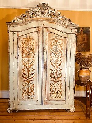 Vintage French Armoire / Wardrobe With Inlaid Boiserie Panels