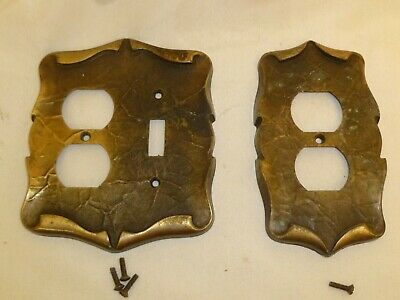 Vintage Amerock CARRIAGE HOUSE Antique Brass Outlet Light switch covers Lot of 2