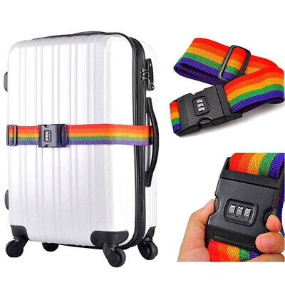 Luggage Straps Adjustable Suitcase Baggage Belts with 3-Dial Combination Lo IO