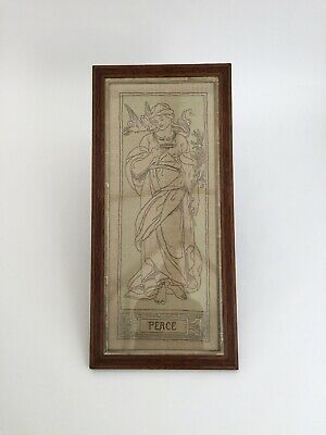 Arts and Crafts Movement embroidered picture of a maiden Art Nouveau antique