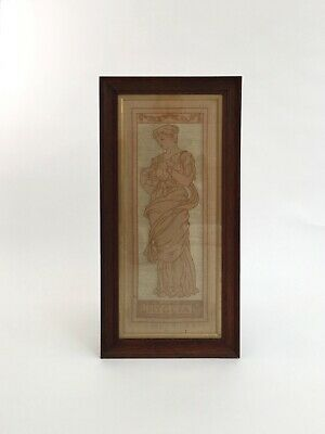 Arts and Crafts Movement textile panel embroidered picture antique Art Nouveau